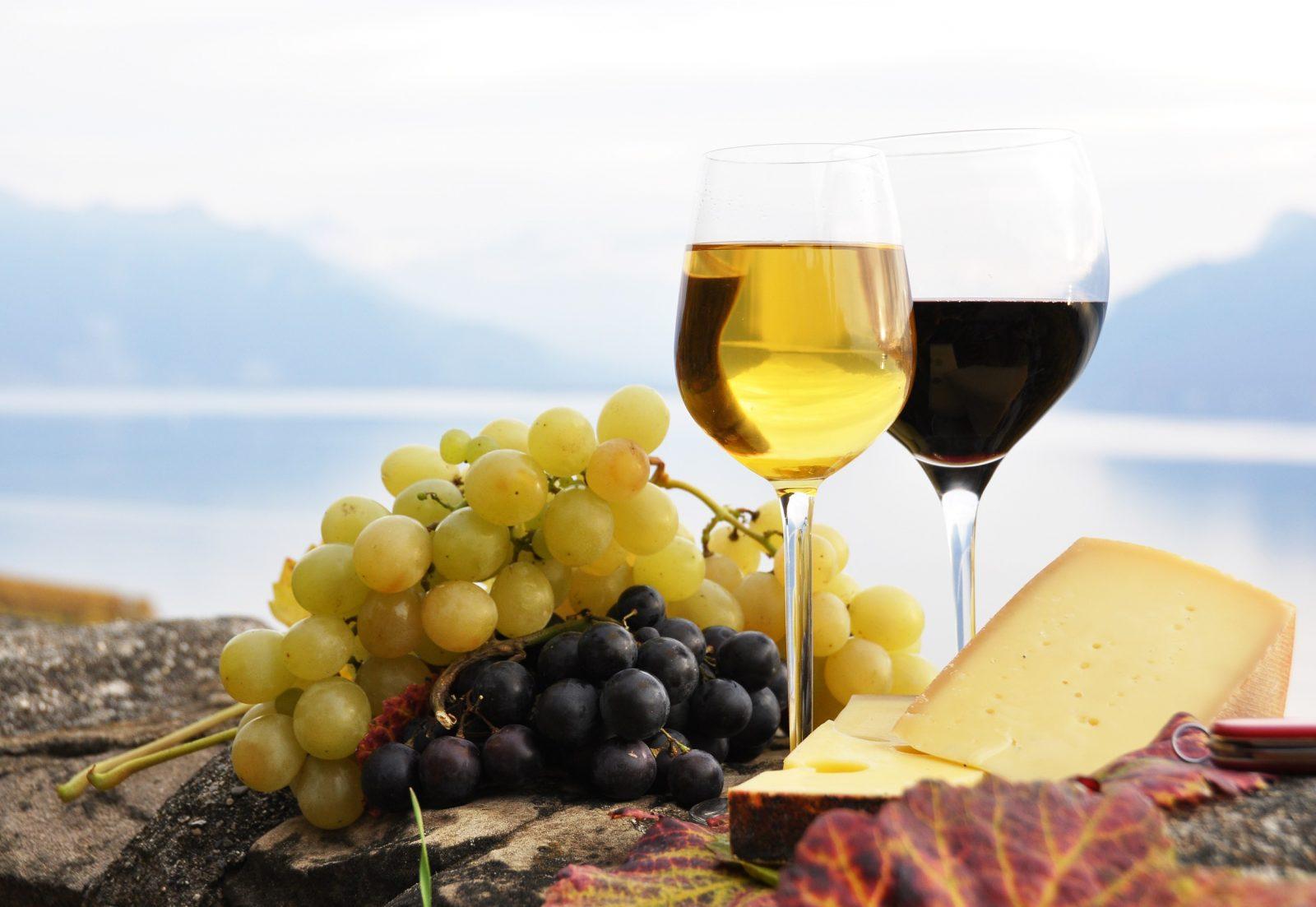Wein Onlineshop Header - Rotwein und Weißwein, Trauben und Käse