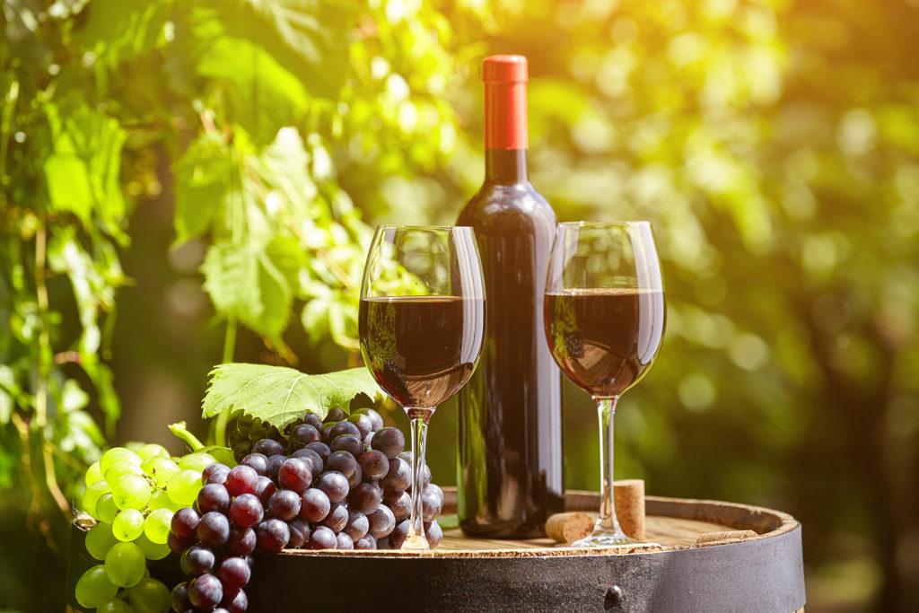 Gläser mit Trauben