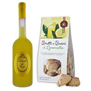 Zitroniger Gardasee-Limoncino und brutti ma buoni al Limoncello, zartes Mandelgebäck mit einem soften Kern aus Limoncello-Crème